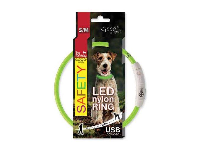 LED Obojek nylonový zelený  45 cm dobíjecí USB