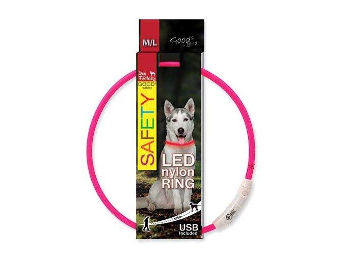 LED Obojek nylonový růžový  65 cm dobíjecí USB