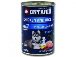 ONTARIO konzerva puppy cicken, rce and lnseed ol 400g
