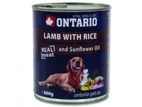 ONTARIO konzerva lamb, rice, sunflower oil 800g