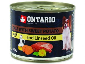 ONTARIO konzerva mini calf, sweetpotato, dandelion and linseed oil 200g