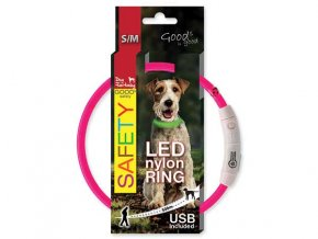 LED Obojek nylonový růžový  45 cm dobíjecí USB
