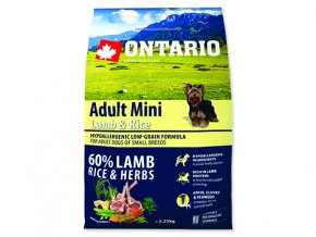 ONTARIO Adult Mini Lamb & Rice 2,25 kg