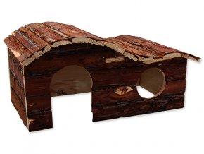 Domek SMALL ANIMALS kaskada dřevěný s kůrou 43 x 28 x 22 cm