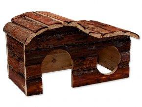 Domek SMALL ANIMALS kaskada dřevěný s kůrou 31 x 19 x 19 cm