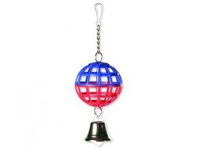 Hračka TRIXIE míč mřížkovaný s řetízkem a zvonkem 7 cm