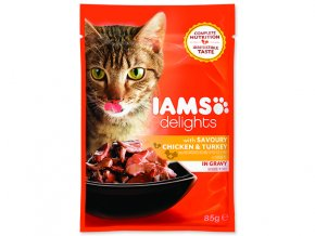 IAMS kapsička cat delights chicken & turkey in gravy 85 g