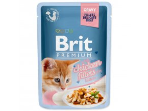 BRIT Premium Cat Kapsička Delicate Fillets in Gravy with Chicken for Kitten 85g