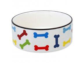Miska DOG FANTASY keramická potisk barevné kosti bílá 20,5 cm 1,61l