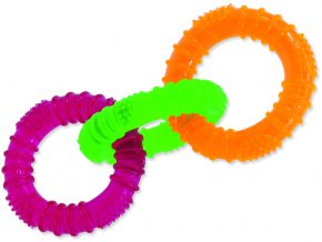 Hračka DOG FANTASY 3 kruhy gumové barevné 16 cm