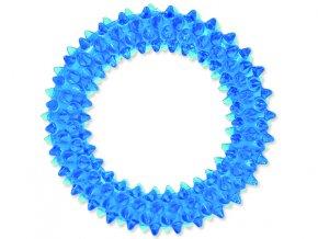 Hračka DOG FANTASY kroužek vroubkovaný modrý 7 cm
