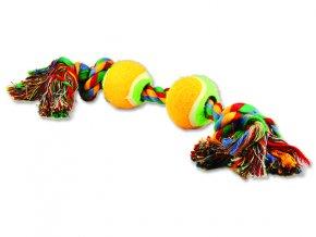 Hračka DOG FANTASY barevná 2 knoty + 2 tenisáky 35 cm